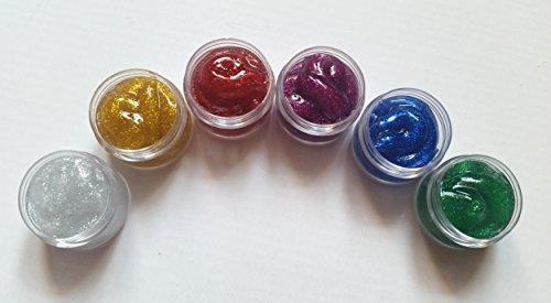 NEW Nail Art Kit de 6 couleurs acrylique Paillettes, Argent Or Rouge Bleu Violet Vert, pour One Stroke Accessoires Manucure Design, döschen 10 ml, fleurs artificielles