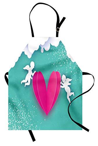 Schürze, Flying Cupid Gods tragen großes Herz Happy Valentines Day Design, Unisex-Küche Latzschürze mit verstellbarem Hals zum Kochen Backen Gartenarbeit, Ringelblume Weiß Türkis ()