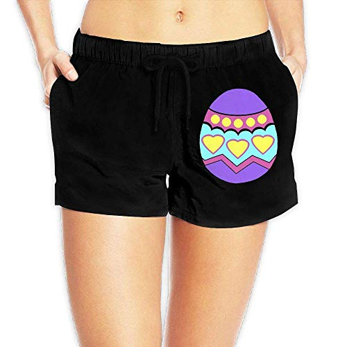 Hwgss Easter Egg Women's Lightweight Boardshorts Surf Yoga Swimming Shorts with Pockets(S) -