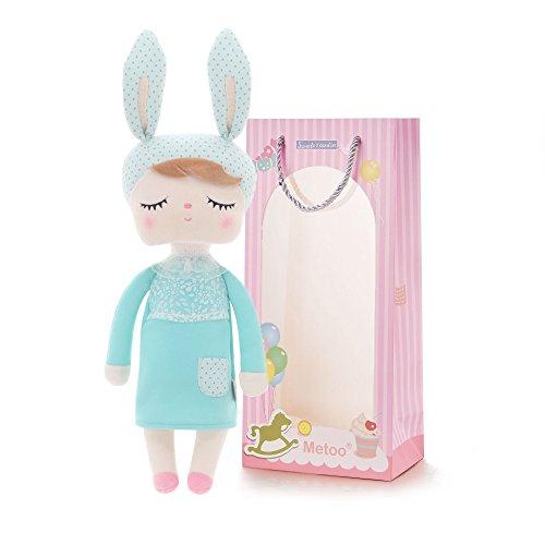 Metoo Gefüllte Hase Plüsch Kaninchen Puppen - Angela Baby Schlafen Puppen Mint Green mit Geschenktüte (12 Zoll) - Mädchen Geschenke Spielzeug -