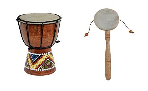20cm Kinder Djembe Trommel Bongo Drum Deko Bunt Bemalt + Handtrommel Rassel R6