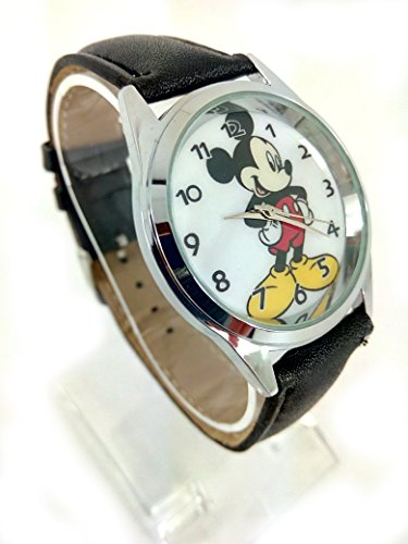 Image of TAPORT® MICKEY MOUSE Quartz Watch Disney Black Leather Band +FREE SPARE BATTERY+FREE GIFT BAG