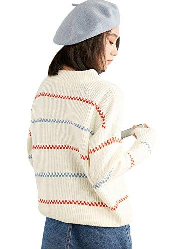 JOTHIN Invernali strisce Maglioni Half Collo alto Manica lunghe Maglieria Eleganti Pullover larghi Basic Sweater Donna Bianco