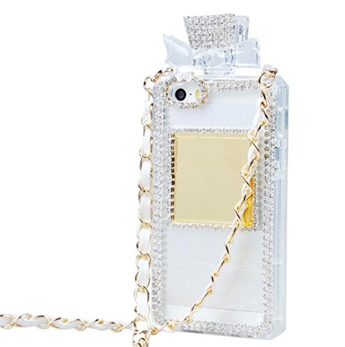 iPhone 6/6S Fall, fusicase Creative Parfüm Flasche Design mit 3D Handmade glänzend Sparkle Diamond Kette Bumper TPU Weiche Handtasche Fall Ausgestattet für iPhone 6/6S 11,9cm, iPhone 5/5s, Weiß - Parfüm-flasche Iphone Case 5s