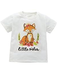 T-shirt assorti de soeurs T-shirt bébé T-shirt infantile Toddler Body Fox imprimé par Shiningup