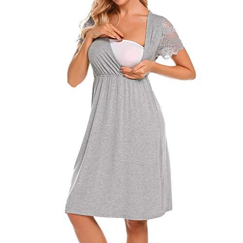 JKLEUTRW Umstandskleid Damen Sommer 2019 Shirt Frauen Mode Mutterschaft Kleid Pflege Baby Nachthemd Stillende Bowknot Nachtwäsche Stilltop Kleidung Umstandskleidung Pyjama Maternity