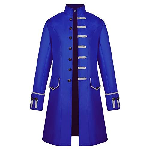 ttelalterliche Kostüme Männer Stand Kragen Party In Langen Halloween-Kostümen,Blue,L ()