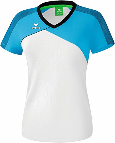 Erima Damen Premium One 2.0 T-Shirt, weiß/Curacao/Schwarz, 44