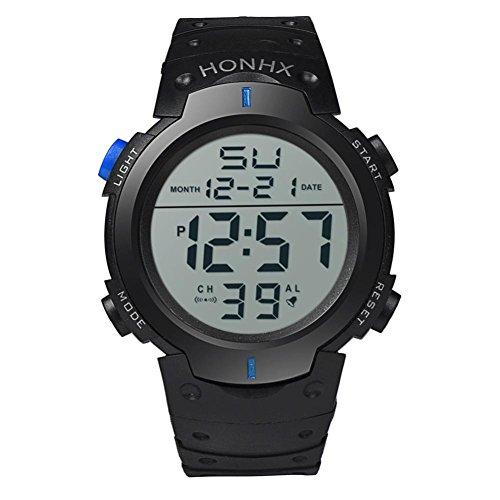 cronometro digitale, FEITONG ragazzo maschile impermeabile LCD data gomma sport orologio da polso (Blu) - Omega Cinturino In Gomma Blu