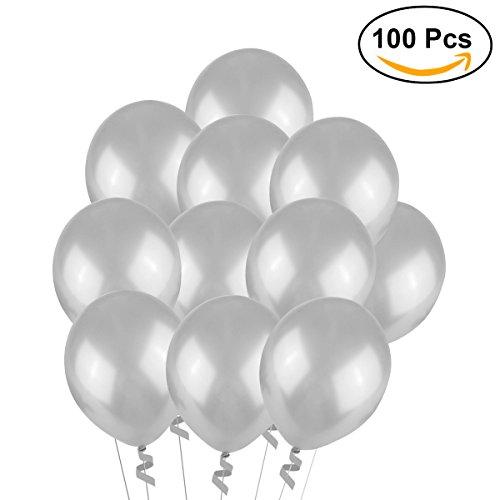 ilber,Hochzeits Luftballons,12-Zoll-Latex-Ballon für Party, 100 Stück, (silber) (Kostüm Luftballon Lieferung)