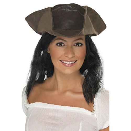 enhut mit Haaren Piraten Hut Lederoptik Dreispitz Damenhut Pirat Kopfbedeckung Piratenbraut Seeräuber Kostüm Accessoire ()