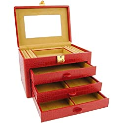 3 drawer leather jewelry box engraved coconut Size: U Color: RED
