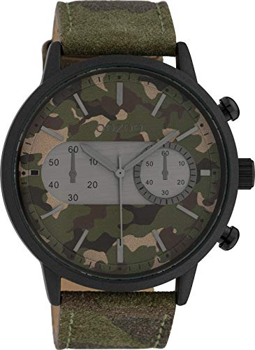 Oozoo Herrenuhr mit Lederband 49 MM Black/Camouflage/Camouflage C10068