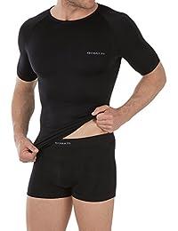 Sport Herren Funktionswäsche Set bestehend aus Hemd + Hose - Sportwäsche von celodoro - kein störende Nähte mit Elasthan in Schwarz in Gr. M L XL