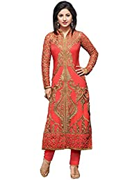 Womens Indian Ethnic Designer Pink Georgette Party Wear Wedding Suit With Dupatta And Unstitched Salwar (Free...