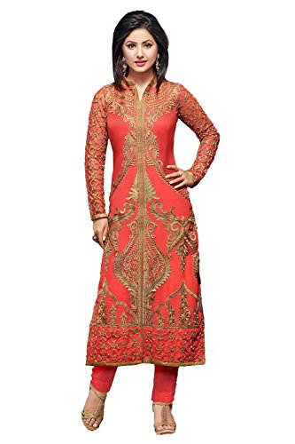 Womens Indian Ethnic Designer Pink Georgette Party wear Wedding Suit With Dupatta...