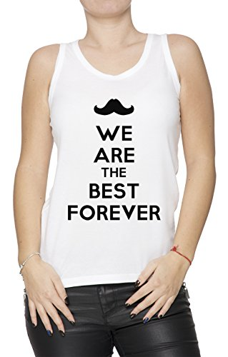 We Are The Best Forever Donna Canotta T-shirt Bianco Cotone Girocollo White Women's Tank T-shirt