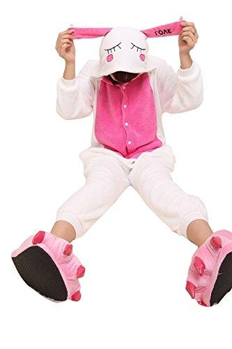 Honeystore Erwachsene Unisex bezaubernd Weiß Hase Tier Cosplay Kostüm Pyjamas Siamesische Kleidung L