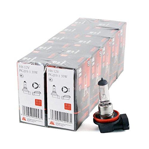 Preisvergleich Produktbild 10 Halogenlampen,  Lampen Birne Glühbirne H8 35W Sockel PGJ19-1 transparent für SMART FORFOUR (454) Nebelscheinwerfer