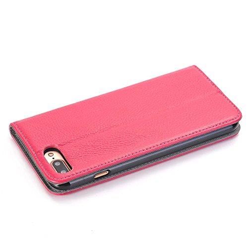 iPhone Case Cover Geniune Leder Litschi Textur Muster Magnetverschluss Flip Stand Hülle mit Kartenfach für Apple IPhone 7 Plus ( Color : Red , Size : IPhone 7 Plus ) Rose