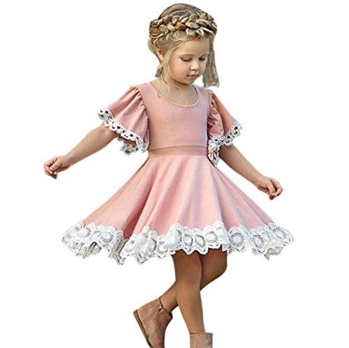 Sommerkleid Mädchen, Longra Baby Kinder Mädchen Kleider Vintage Retro Kleider Floral Spitze Kleider mit Volant-Arm Kinder Kurzarm A-line Kleider Festliche Prinzessin Kleid (Pink, 110CM 4Jahre)