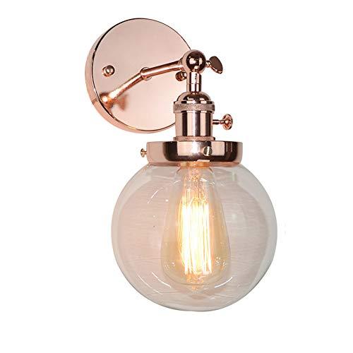 Accesorios de iluminación de pared vintage, gris retro globo industrial aplique de pared de vidrio...