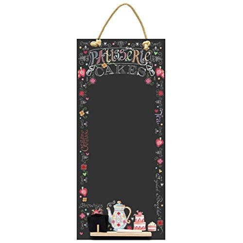 Kreidetafeln UK Patisserie hoch dünn Kreidetafel/Tafel/Memo Küche Board mit Seil, Tablett und Kreide, Design Range, Holz, schwarz, 60x 26,5x 1cm