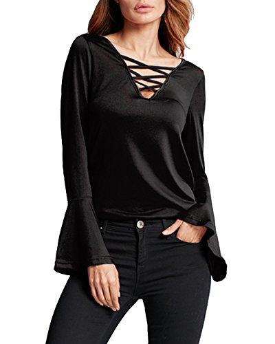 StyleDome Camicetta Maniche Lunghe Casual Elegante Sexy Ufficio V-collo T-shirt Maliga per Donna Nero IT 46