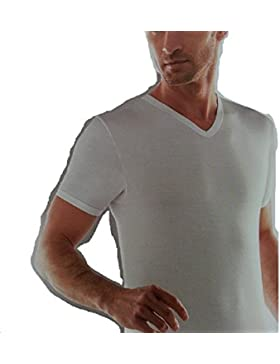 Liabel Blu stone - 3 pezzi t-shirt senza cuciture mezza manica bianco scollo v 100% cotone (7/54/XXL)
