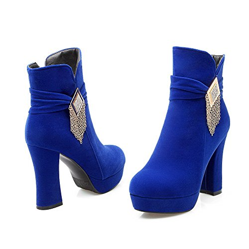 Agoolar Dépolissement Peggiori Con Blu Stivali Donna Rotondo Metallo Colore Tallone Top Solido TYFtwdwx
