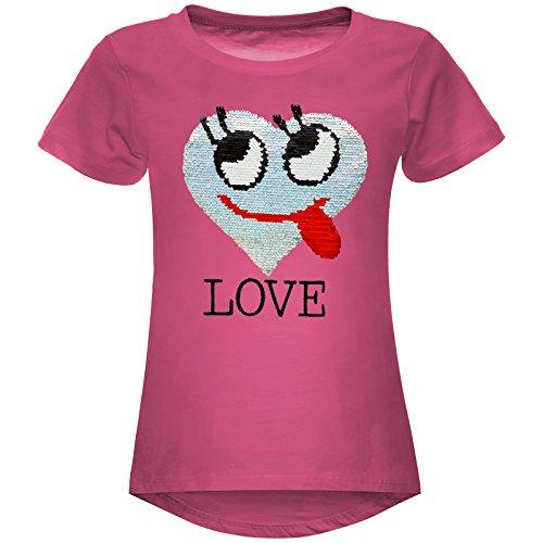 BEZLIT Mädchen Wende-Pailletten T-Shirt Herz Love Motiv 22605 Pink Größe 164
