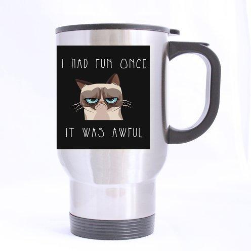 Personalized Grumpy Cat Stainless Steel 14 oz Travel Mug (sliver) by Grumpy Cat Series Mugs - Serie Travel Mug