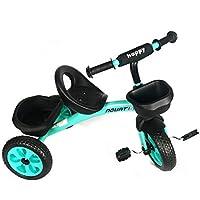 Infantil 3 Ruedas Pedal Trike - en Turquesa Verde - con Frontal y Trasero Cesta - para Edades 3-5 Años