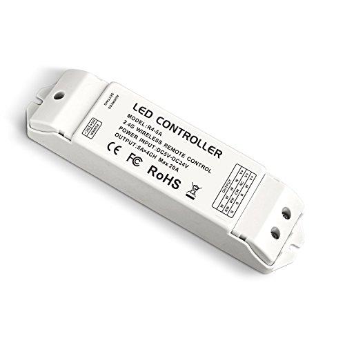 LTRGBW 2.4G Wireless Remote Empfangs-Controller RF Konstantspannung Empfänger DC 5V 12V 24V 20A für einzelne Farbe RGB CW / WW RGBW RGBWW LED Streifen Klebeband-Licht (5 Jahre Garantie) (R4-5A CV-Empfänger)