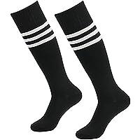 Westeng 2par Long-barreled Rayas Calcetines de Animadora de Fútbol Baloncesto Deportes Calcetines de Algodón Calcetines de Caña Alta Hombre Mujer,Negro