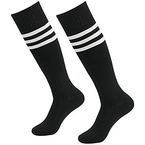 WeiMay Männer Frauen Streifen Kniestrümpfe Elastisch Overknee Strümpfe Cheerleading Fußball Baseball Sport Baumwolle Lange Socken 1 Paar (Gestreiftes Fußball-socken Schwarz)