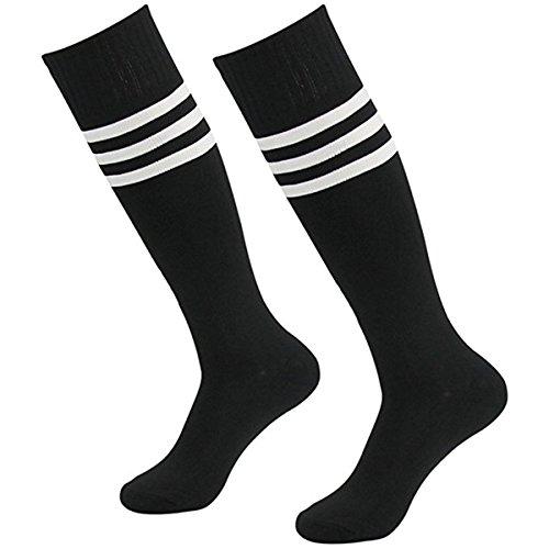 Doitsa 1 Paar Streifen Kniestrümpfe Retro Schüler Knitting Sportsocken fur tanzen Cheerleading Spiel Fußball unisex Schwarze weiße Streifen (Herren-socken Baseball)