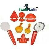 Trackindia Combo Of 8 Kitchen Tools (Kachori Maker, Samosa Maker, Gujiya Maker, 2 Ladoo Maker, Modak Makers, Pestry Cutter, Pizza Cutter)