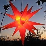 Mit LED Außenstern Stern rot mit gelben Spitzen Weihnachtsstern 55-60 cm Stern außen, mit Leuchtmittel LED (StaRt-NDL-DUH-E14-C3,5W), 104 Dioden