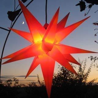 Mit LED Außenstern Stern rot mit gelben Spitzen Weihnachtsstern 55-60 cm Stern außen, mit Leuchtmittel LED (StaRt-NDL-DUH-E14-C3,5W), 104 Dioden -