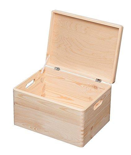 Stapelboxen 8,4 - 57,6l Aufbewahrungsbox Lagerbox Holzkiste mit/ ohne Deckel (28.8l 30x40x24cm mit Deckel)