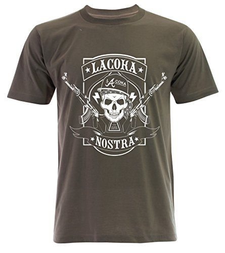 PALLAS Men's La Coka Nostra T Shirt -PA177 Khaki