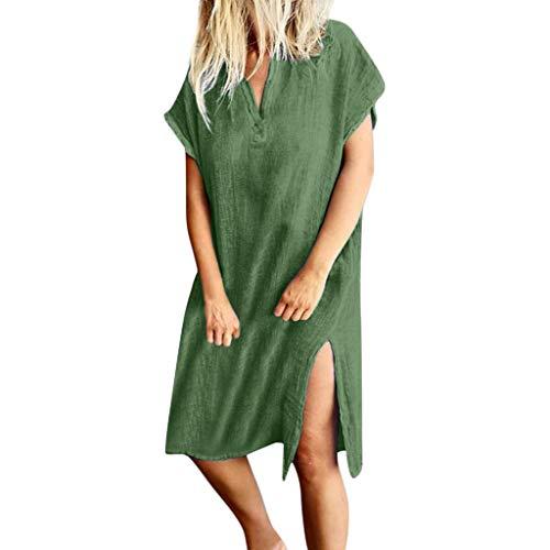 BCFUDA Kleider Frauen Sommer Casual V-Ausschnitt Kurzarm Maxi Kleid Lose Atmungsaktiv Knielangen Hem Kleider Bequem Retro Strandkleid Dünn und Leicht Langes Kleid - Meerjungfrau Eine Schulter Sweep