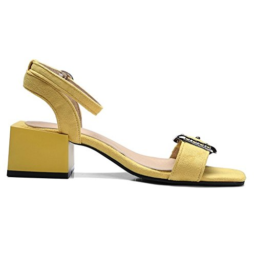 COOLCEPT Damen Mode Knochelriemchen Sandalen Open Toe Slingback Blockabsatz Schuhe Gelb