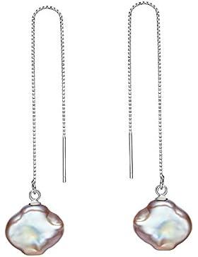 Damen Ohrhänger 925 Silber Lange Durchzieher Barock Perle baumeln Ohrringe für frauen und mädchen