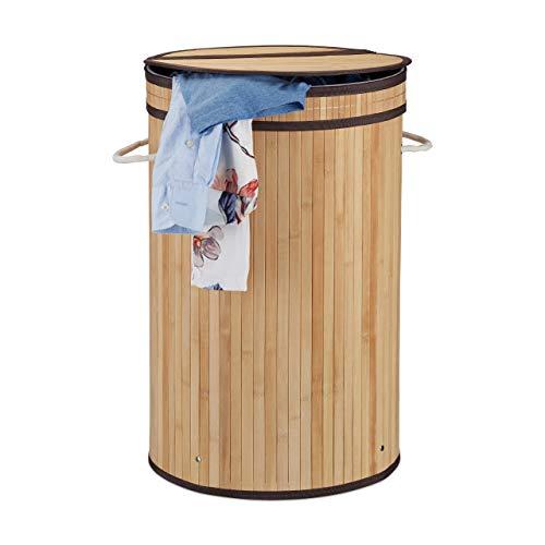 Relaxdays Cesto de ropa sucia de Bambú, Beige, 65 litros
