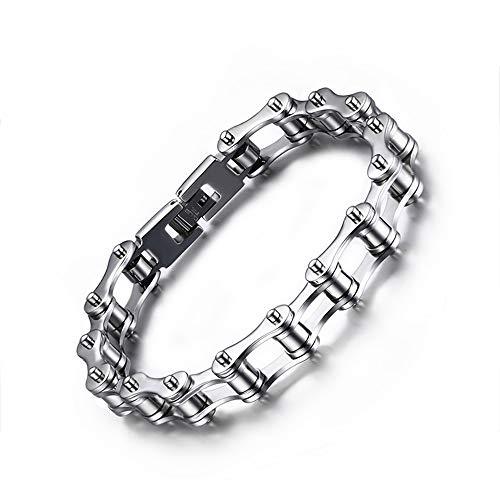 ZHHAOXINJE Wunderbar Titan Stahl Armband, Herren Armbänder Edelstahl für Männer Gesunde Schmuck Herren Handgelenk Poliert Panzerkette, Magnetarmband Unisex, Steel