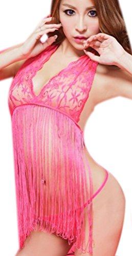Donna Pizzo Lingerie Set Lingeria Babydoll Femminile Donne Push Up Top Reggiseno + Slip Notte Completi Intimi Sleepwear Intimo Calzamaglia Abito Notte Nightwear Suit Con Nappa Rosa