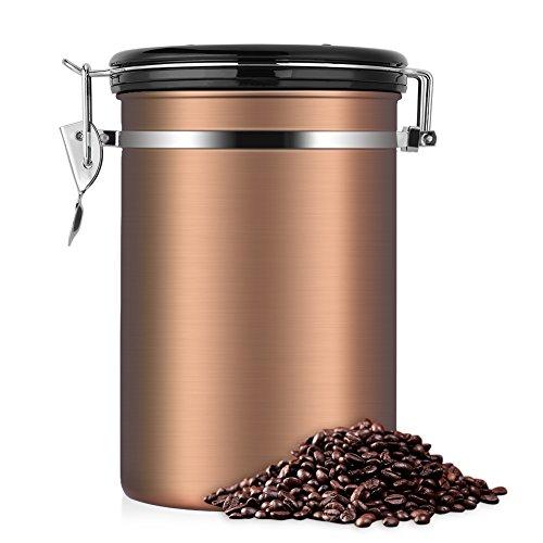 EECOO Kaffeedose, Kaffeedose Luftdicht, Kaffeedose Edelstahl, Kaffeebehälter Luftdichte Aromadose...