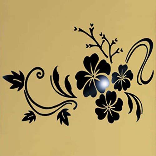 daufkleber Kristall Stereo Kreative Wand Ornament Blume Spiegel Wandaufkleber Dekorativer Wandtattoo Wandgemälde Pvc Dekor Vinyl Aufkleber (780 * 600mm, BK) ()